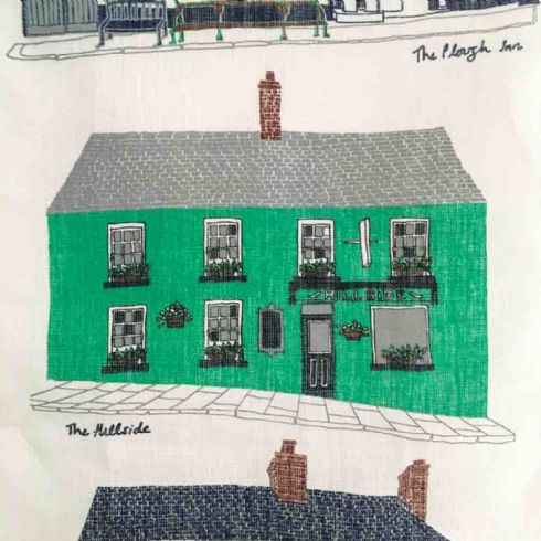 Danielle Morgan (Flax Fox Designs) - Hillsborough Pubs Linen Tea Towel